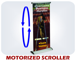 Motorized scrolling banner display