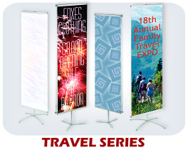 Travel series banner stands